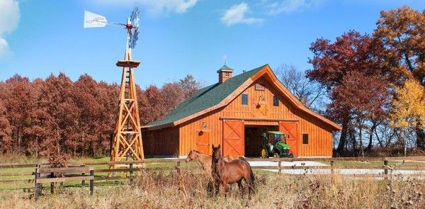 The Ponderosa Country Barn by Sand Creek Post & Beam features 12 foot closed lean-tos. All wood barn kits feature the strength and beauty of post and beam timber frame construction.