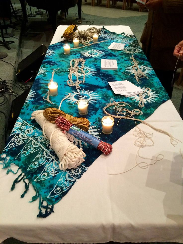 """The Knots' Prayer... This prayer station creates a """"physical"""" conversation focused on the knots and nots in our daily lives, deciding what we cling to and what we let go."""