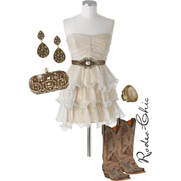 """Rodeo-Chic"" by rodeo-chic on Polyvore, lace tiered strapless dress with cowboy boots, western formal, prom"