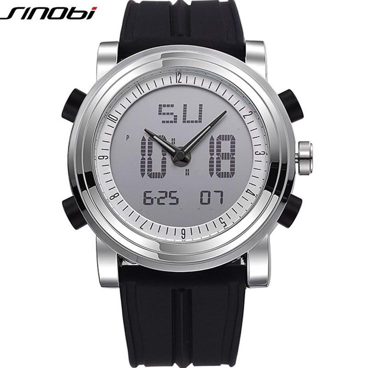 SINOBI Sports Watch Men's Wrist Watches Digital Quartz Clock 2 Movement Waterproof Watch Top Luxury Brand Chronograph Male Reloj