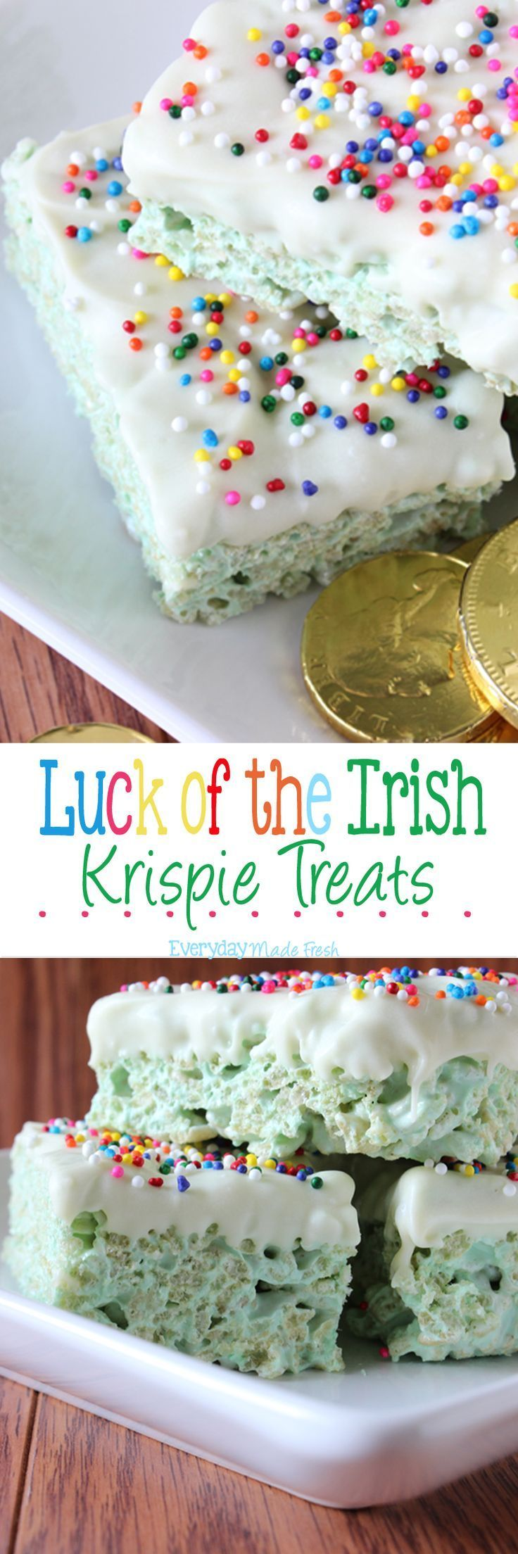 These Luck of the Irish Rice Krispie Treats are festive green and dipped in white chocolate with rainbow sprinkles! | http://OHMY-CREATIVE.COM via http://EverydayMadeFresh.com