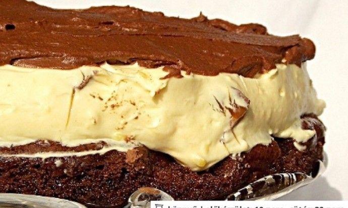 Kakaový dort s vaječným krémem a čokoládovým toppingem