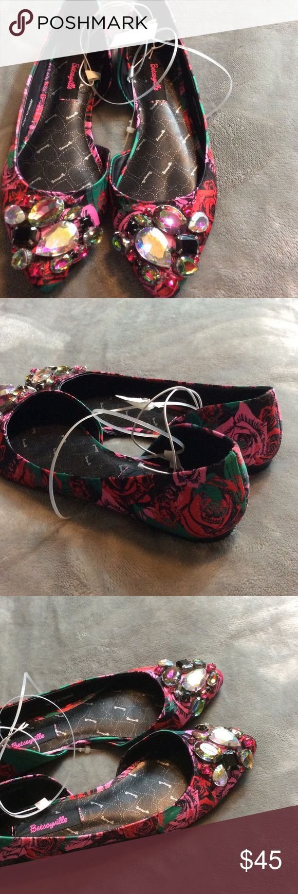 Betsyville floral print ballet flats NWT SZ 7 Betsyville floral ballet flats with rhinestones. Size 7. New with tags. Betsey Johnson Shoes Flats & Loafers