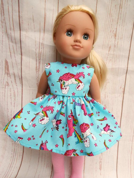 "Unicorn /& Flowers//Green Sundress for 18/"" Doll Clothes American Girl"