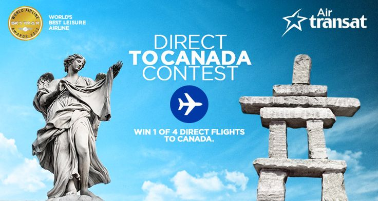 Air Transat is giving away 4 direct return flights to Canada. Enter now on Air Transats Facebook page for your chance to win!