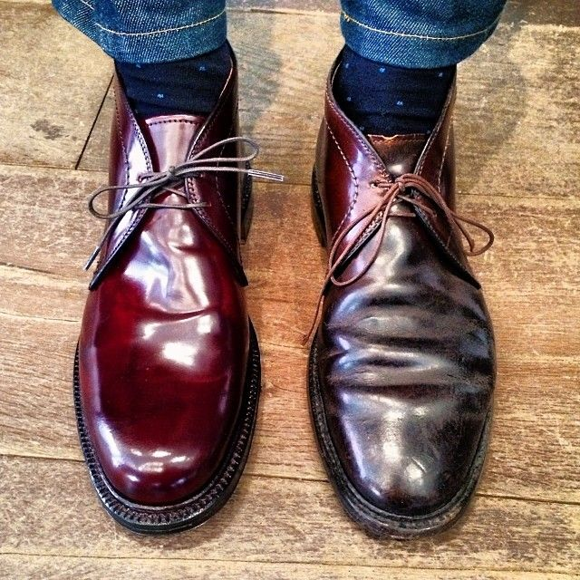 leffot: Old and new. Alden shell cordovan chukkas the boot on the right is 15 years old the one on the left is new. Both are awesome that's what great about quality footwear. With care they'll last for years. (at Leffot)