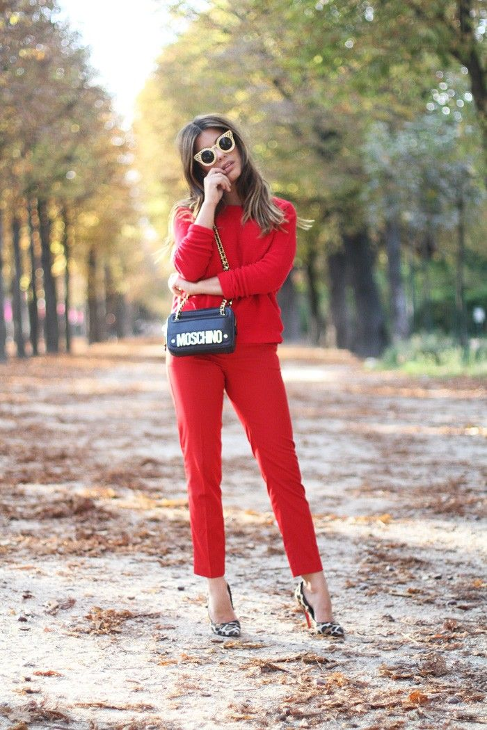 Brights In Street Style Blogger Dulceida Wearing Head To Toe Red And Moschino At Paris Fashion