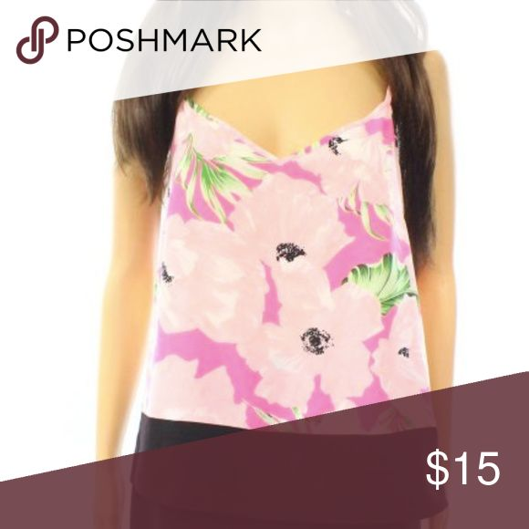 French Connection Pink Floral Cami Top M French Connection Pink Women's Size Medium Floral V-Neck Cami Top In like new condition.  Perfect for that holiday getaway! French Connection Tops Camisoles