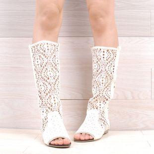 stivali estivi tacco basso primavera e l'estate della moda scarpe da donna punta aperta stivali con un singolo scarpe ritaglio(China (Mainland))
