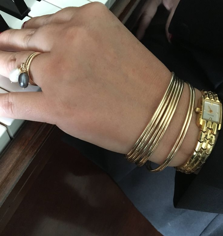 14k Gold Fill Bangles -Gold Fill Stacking Bangles- Classic Bangle - Handcrafted in U.S.A - Gold Bangle Bracelet.