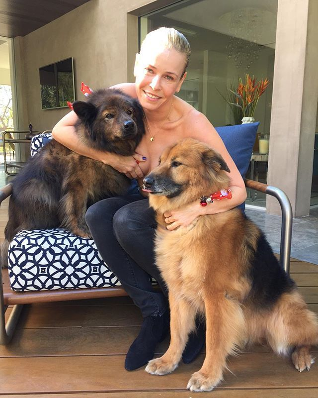Pin for Later: All the Times We've Seen Chelsea Handler's Boobs —So Far December 2015: Chelsea shows her love for animals by posing topless with her dogs.