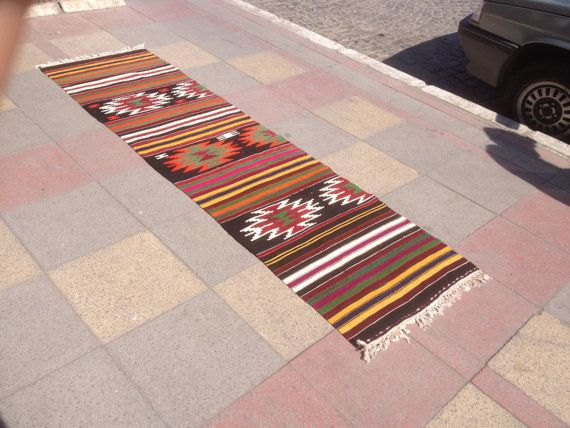 "Village Turkish Flatweave Runner Kilim Rug Vintage Runner Kilim Rugs Wool on Cotton 27,5"" x102,3"" (70 cm x260 cm)"