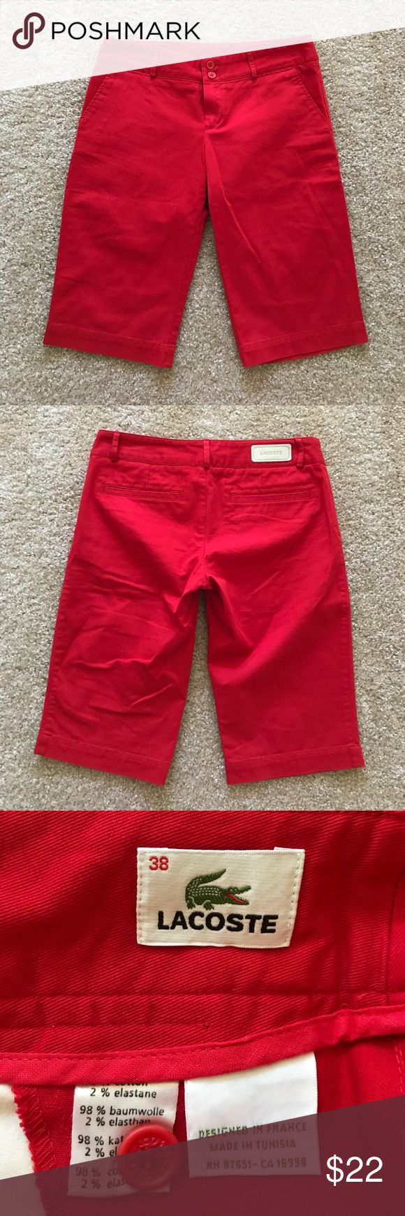 Lacoste Bermuda / Walking Shorts Size 38/US 6 NWOT New, never worn Lacoste Bermuda shorts in size U.K. 38 (US 6). Made of cotton and elastane, just the right amount of stretch. Low rise fit. Smoke free, pet free home. NWOT Lacoste Shorts Bermudas