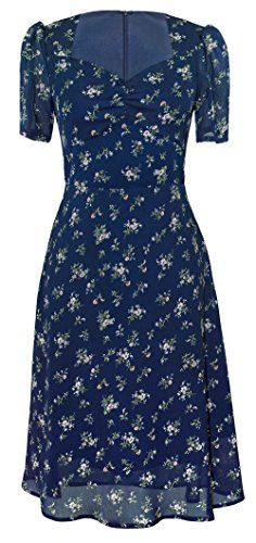 New Closet Convention Navy Midi Dress With Vintage Flowers Print, V-Neck, Short Puffed Sleeves, A-Line Skirt online. Enjoy the absolute best in Mod-O-Doc Dresses from top store. Sku muky22872drdz78268
