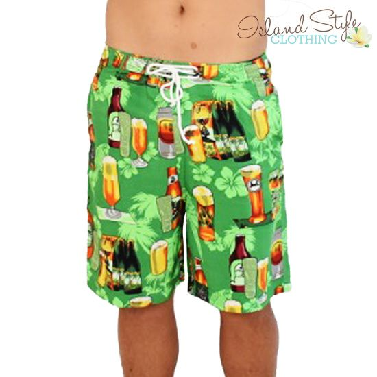 Mens Shorts - Green Beer - Hawaiian Style Boardshorts - Beach Party, Luau, Cruise, Schoolies, Fancy Dress