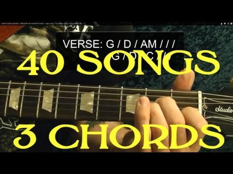 40 Popular Rock Songs, THREE Chords! ( Easy Guitar Lesson With Chord Chart ) by BobbyCrispy - YouTube