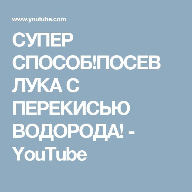 СУПЕР СПОСОБ!ПОСЕВ ЛУКА С ПЕРЕКИСЬЮ ВОДОРОДА! - YouTube