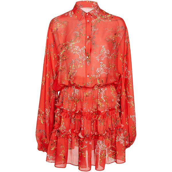 Alexis     Loe Red Floral Blouson Dress (1.483.215 COP) ❤ liked on Polyvore featuring dresses, alexis, red, red floral dress, long-sleeve floral dresses, blouson sleeve dress, sleeved dresses and elastic waist dress