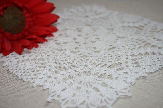 Square crochet doily white doily crochet lace by BeautyByLuchka, $10.00