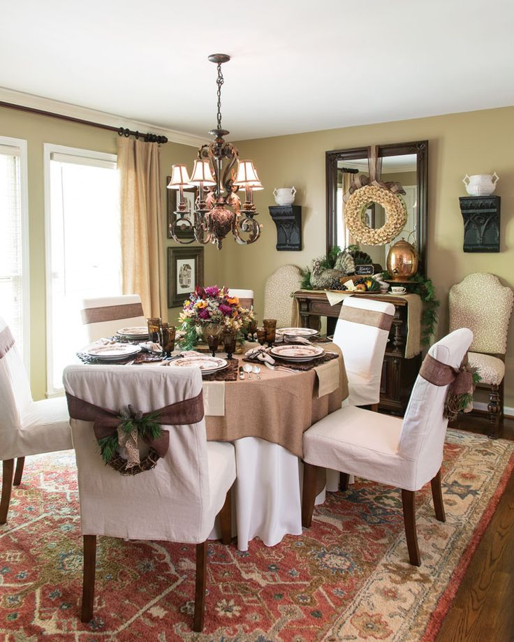 A Picture Of Dining Room Set Up For Thanksgiving Meal