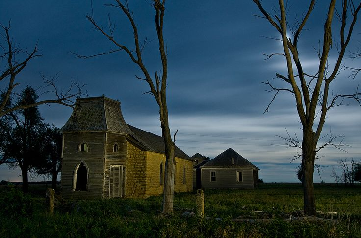 Abandoned Lutheran Church Schoolhouse In The Middle Of Nowhere In Barton County Kansas