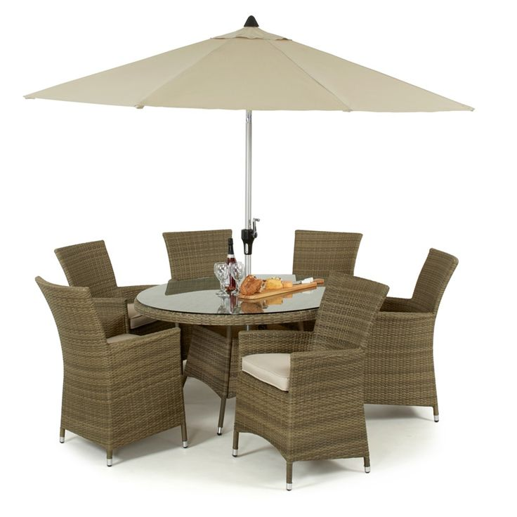 An excellent dining set for any garden. A large 135cm safety glass topped table and 6 LA highback chairs make this the ideal set for alfresco dining with friends. The Tuscany weave is hand woven around an aluminum frame ensuring durability, Maze Rattan also offer a 5 year warranty.