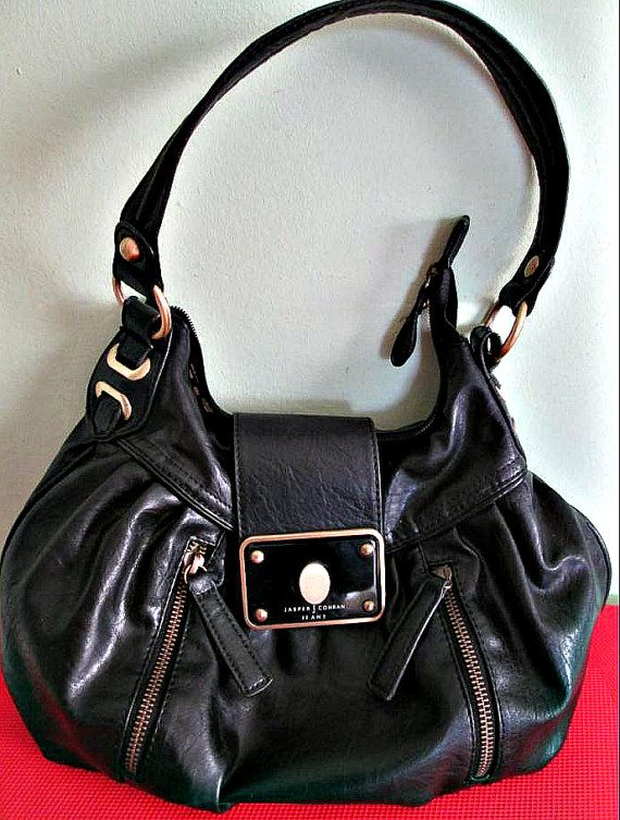 Vintage Jasper Conran Black Shoulder Bag, Vintage Handbag, Retro handbag, fashion  This is a beautiful Jasper Conran soft black leather handbag