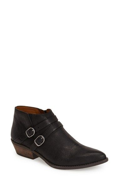 Free shipping and returns on Lucky Brand 'Jacquii' Bootie (Women) at Nordstrom.com. Contrast buckle straps and a stacked wooden heel lend a casually rugged look to a pointy toe leather bootie in a versatile, abbreviated cut.