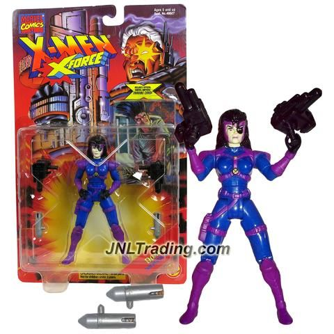 "ToyBiz Year 1995 Marvel Comics X-Men X-Force Series 5"" Tall Action Figure - Twin Weapon Arsenal DOMINO with 2 Blasters, 2 Missiles and Trading Card"