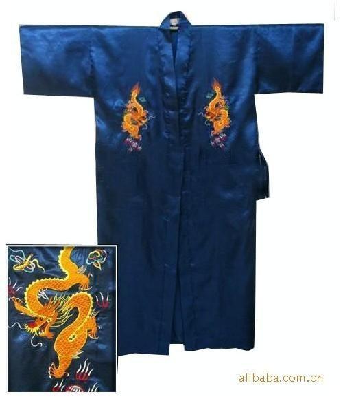 e19557f05c Hot Sale Black Chinese Men s Satin Silk Embroidery Robe Kimono Bath Gown  Dragon Size S M L XL XXL XXXL Free Shipping S0103-A