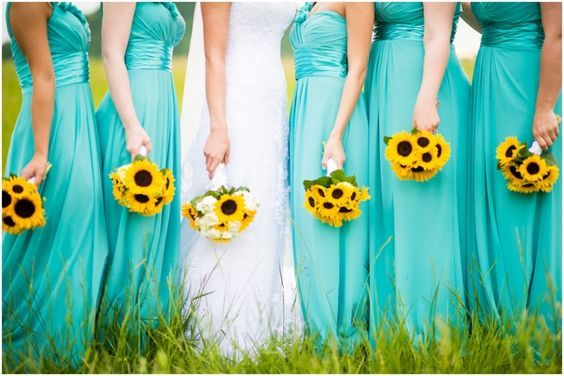 Tiffany Blues with a pop of sunflower yellows for bridal party ...