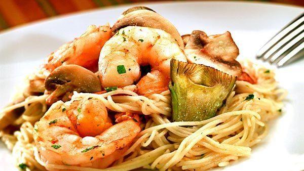 Pasta with plump shrimp