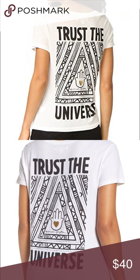 Spiritual Gangster Trust the Universe Tee Casual tee, minimal front graphic on left side of chest that reads Spiritual Gangster written very small in a circle around a heart. Worn once Spiritual Gangster Tops Tees - Short Sleeve