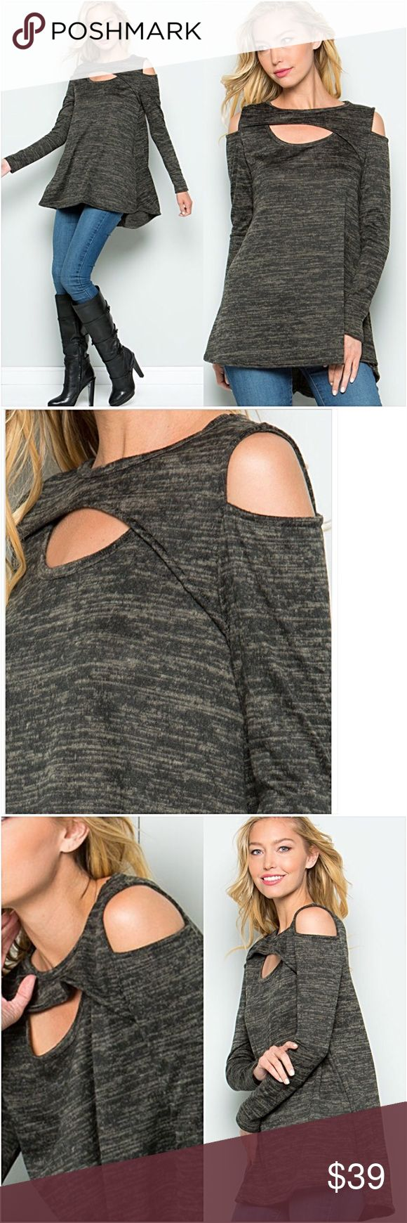 """Marled Cut Out Hi Low Flowy Tunic Top NEW SML How pretty is this tunic?!  Flowy, stretchy, cold shoulder design with  unique cutout detail in marled charcoal gray. Slight hi low effect. Non see through 95% rayon - 5% spandex MADE IN USA True to size  S - 2/4 Bust 32-34 Front Length 27"""" M - 6/8 Bust 36-38 Front Length 27.5"""" L - 10/12 Bust 40-42 Front Length 28"""" Tops"""