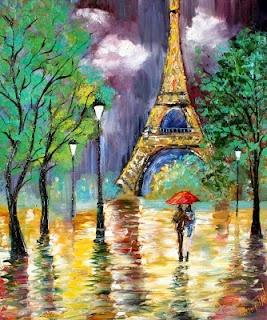 Karen Tarlton: Red Umbrella in Paris Rain.. love it