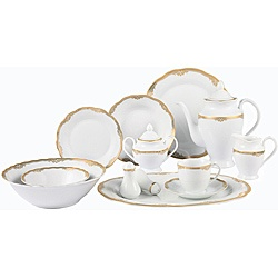 @Overstock - Lorenzo 57 Piece Wavy edge gold border, Porcelain dinnerware set,  service for 8http://www.overstock.com/Home-Garden/Lorenzo-Catherine-Porcelain-57-pc-Dinnerware-Set-Gold-Border/6325843/product.html?CID=214117 $166.09