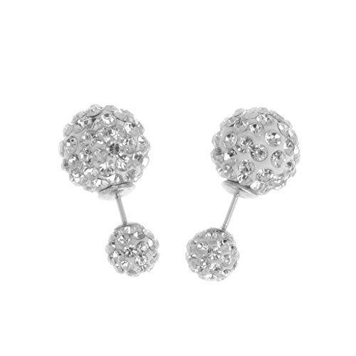 Yantu 1 Paar Damen Kristall Rhinestone Ohrstecker Ohrring Strass Silber Earring doppelt Perlen Ohrschmuck - http://schmuckhaus.online/yantu/yantu-1-paar-damen-kristall-rhinestone-ohrring