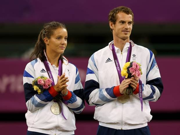 Andy Murray and his mixed doubles tennis partner Laura Robson won silver on day 10
