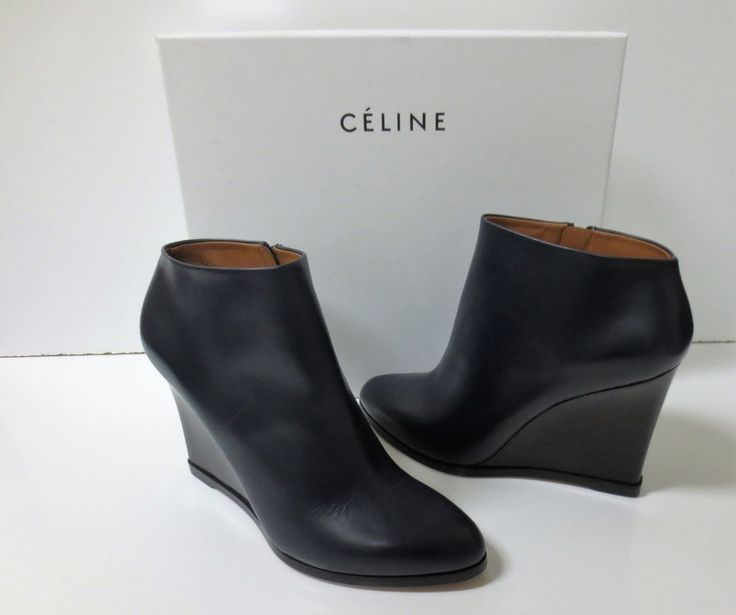 CELINE Navy Leather and Black Wedge Ankle Boots Shoes Sz 37 NEW IN BOX $1100 #Celine #AnkleBoots