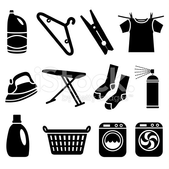 laundry icons royalty-free stock vector art