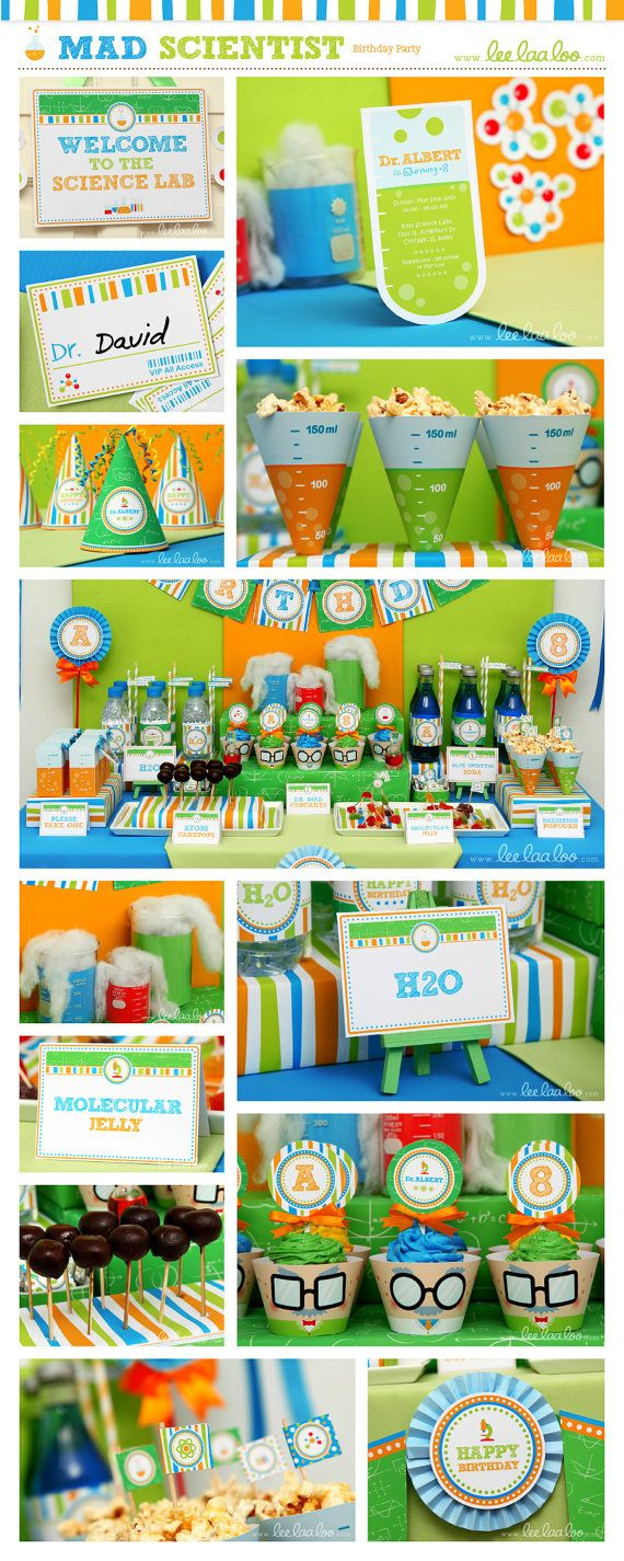 Mad Scientist Birthday Party Food Labels & Bonus by LeeLaaLoo