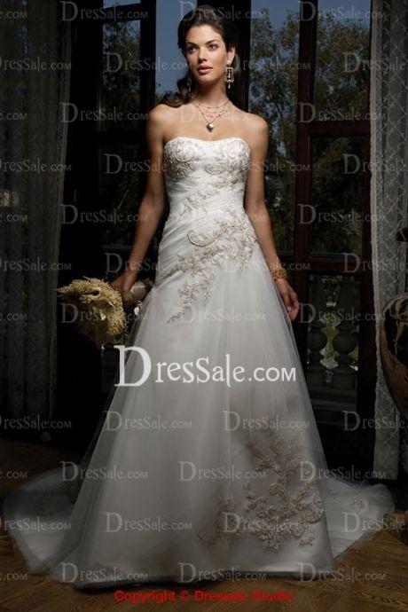 Dreamlike Strapless Dipped Wedding Dress with Appliques $166.99 dressale.com