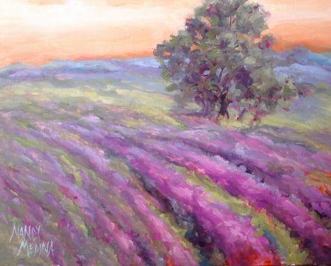 Lavender Field Of Dreams 11x14 Original Art Painting By