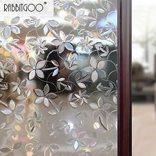Rabbitgoo® 3D Blossoms No Glue Static Cling Privacy Glass Window Films 2.95ft By