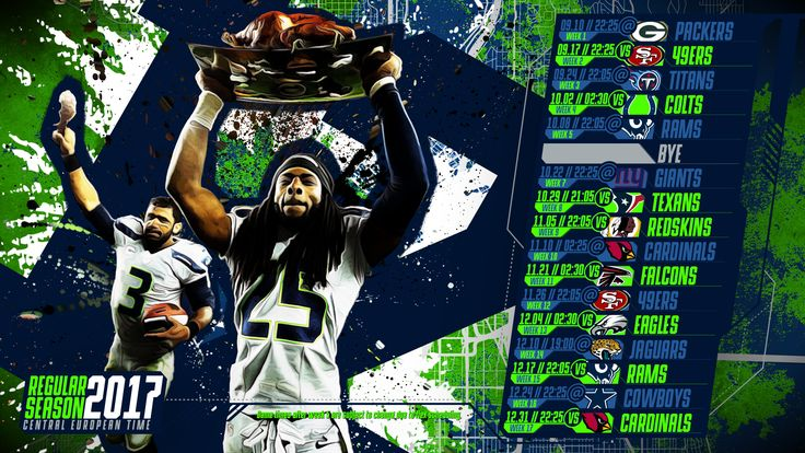 Schedule wallpaper for the Seattle Seahawks Regular Season, 2017 Central European Time. Made by #tgersdiy