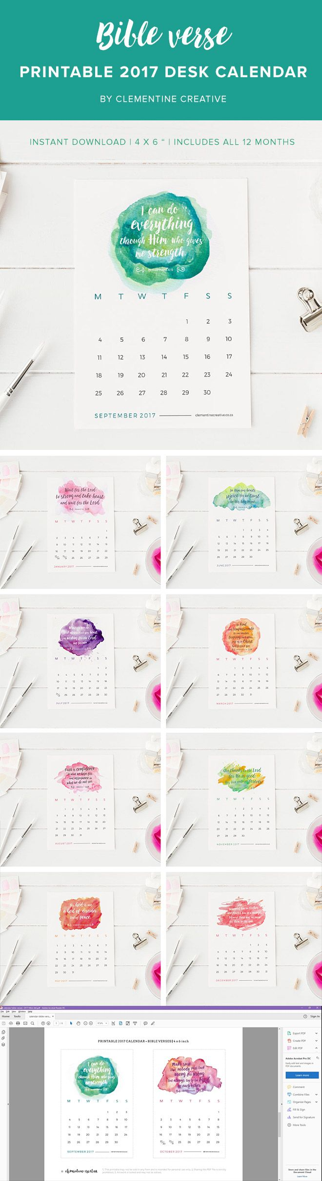 Be inspired every day with this printable 2017 desk calendar with a new Bible verse for each month. Download instantly, print, and decorate your desk!