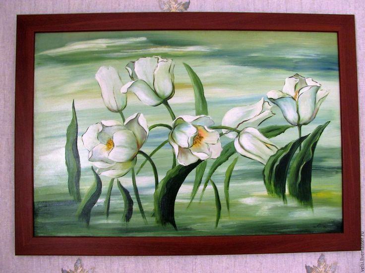 """Купить Панно """" Белые тюльпаны.""""  Масло,холст на подрамнике. - зеленый, белые тюльпаны"""