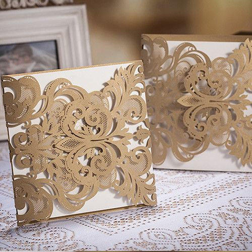 affordable laser cut lace pocket wedding invites EWWS002 as low as $1.99 |