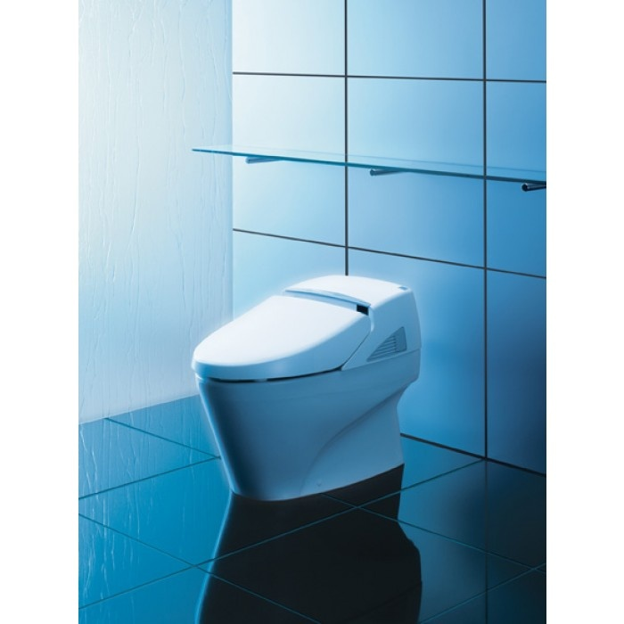 Sleek Tankless One Piece Toilet With Integrated Washlet