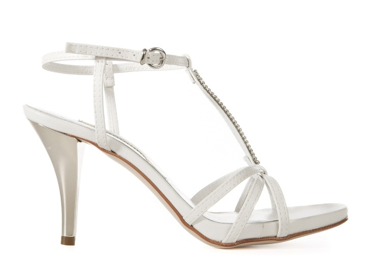 Chiara white leather sandals